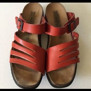 Mephisto red leather sandals size 39